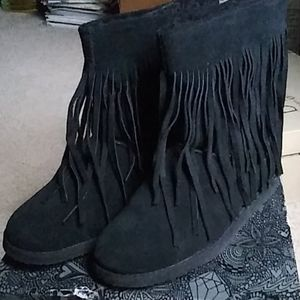 Suede Fringed Boho Bootie